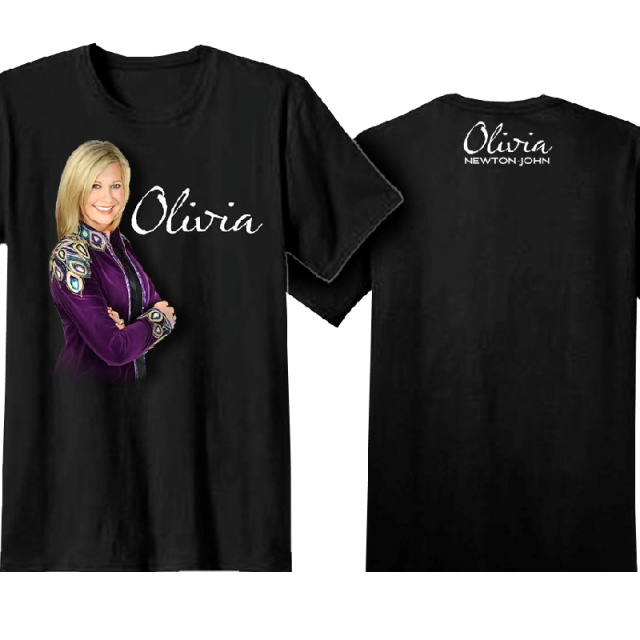 Olivia Newton-John Black Tee- Purple Jacket